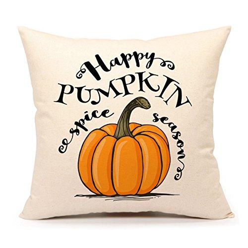 4TH Emotion Happy Pumpkin Spice Thanksgiving Throw Pillow Cover Cushion Case 18 x 18 inch Cotton Linen Autumn Fall Halloween Home Decor
