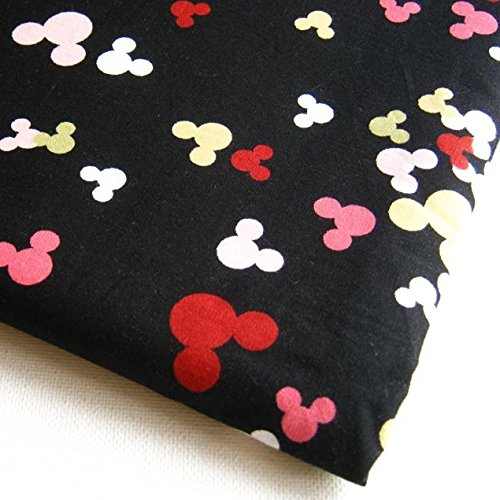Mickey Fabric Mouse Minnie Mouse Shadow Dot Style on Black Fabrics 36 by 36-Inch Wide (1 Yard) (CT200) (Mickey Mouse Clubhouse Fabric By The Yard)