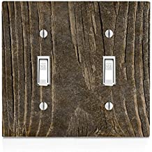 Wood Old Dark Wooden Vintage Background Double Light Switch Plate
