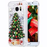 Flocute Galaxy S7 Edge Case, Galaxy S7 Edge Glitter Christmas Case Bling Sparkle Floating Liquid Soft TPU Cushion Luxury Fashion Girly Women Cute Case for Samsung Galaxy S7 Edge (Christmas Tree)