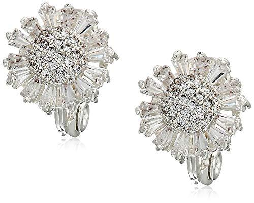 (Napier Women's Cubic Zirconia Flower Clip On Earrings)