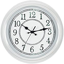Bernhard Products - Decorative White Wall Clock 12.5 Inch, Rustic Vintage Style Silent Non-Ticking Quality Quartz Battery Operated Clock