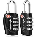 TSA Approved Luggage Locks, Fosmon 4 Digit Combination Padlock Codes with Alloy Body for Travel Bag, Suit Case, Lockers, Gym, Bike Locks or Other