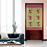 Kawaii Girl Maple-leaf Romantic Fall Landscape Pattern Door Curtain Japanese Noren Curtain Bedroom Curtain (# 3)