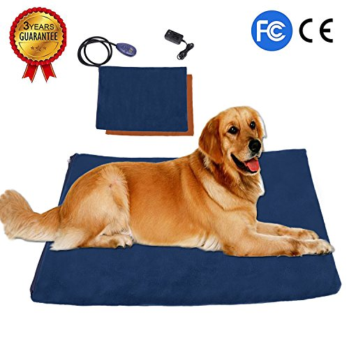 Pet Heating Pad, Waterproof Warming Mat Electric Pad for Dogs or Cats with 7 Levels Adjustable Temperature and Chew Resistant Cord Casing, 2 Soft Removable Fleece Covers included by KepooMan