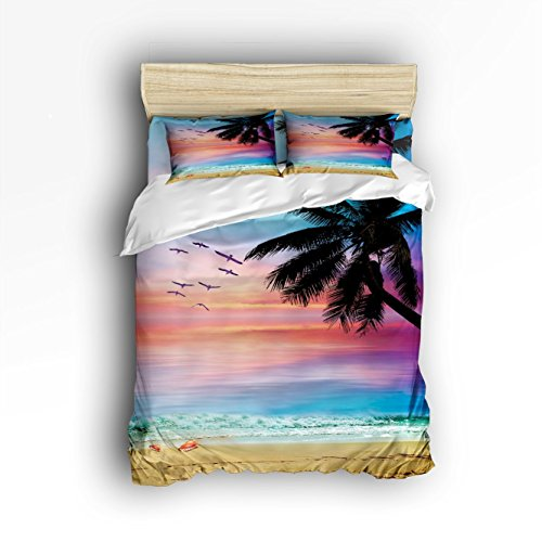 Full Size Bedding Set- Seagull Palm Tree Beach Sunrise Duvet Cover Set Bedspread for Childrens/Kids/Teens/Adults, 4 Piece 100 % Cotton