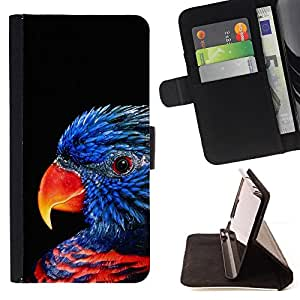 BullDog Case - FOR/Samsung Galaxy Note 3 III / - / parrot bird blue songbird black nature /- Monedero de cuero de la PU Llevar cubierta de la caja con el ID Credit Card Slots Flip funda de cuer