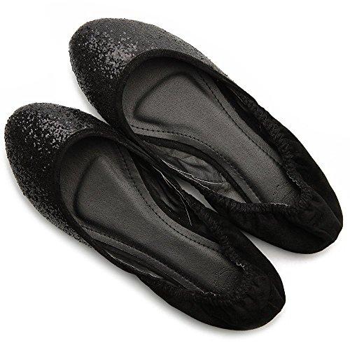 Shoe Flat Ollio Multi Glitter Ballet Women's Black Color pEqYrpw