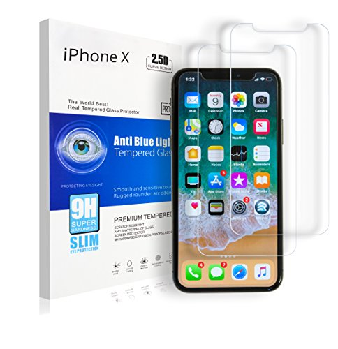 A-Z Super Store iPhone X/10 Premium HD Tempered Glass Screen Protector, Scratch Resistant, Shatter Proof, Anti-Oil Coating, Anti- Fingerprint Coating, Blue light Protection, 9H [.26mm Thick] (2 Pack)