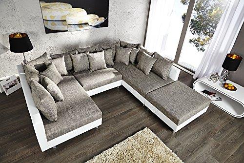 Großes Design Sofa LOFT XXL weiß grau Strukturstoff inklusive Hocker