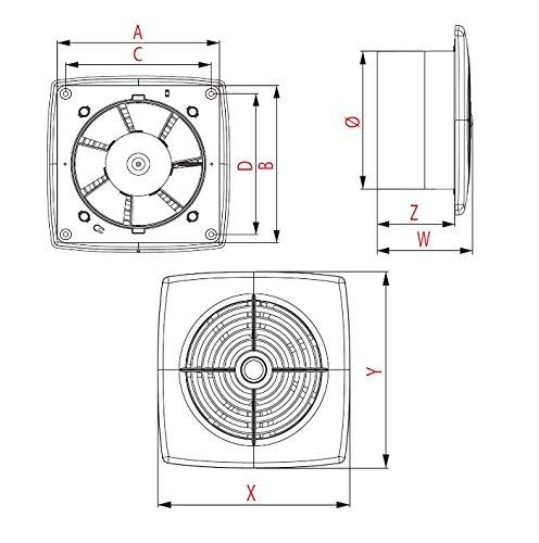 Extractor de ba/ño 100/mm//4/con rodamiento de bolas para inodoro WC de pared//techo ventilador WR100