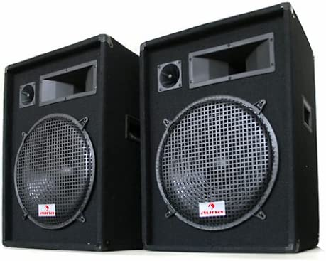 Auna Sonido Profesional DJ Pareja de Altavoces de 3 vías 38cm 1600W