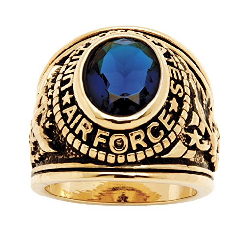 Palm Beach Jewelry Men's 14K Yellow Gold Plated Antiqued Oval Cut Simulated Blue Sapphire United States Air Force Ring Size 10