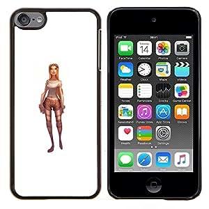 Lara Jinete Carácter Juego Pc blanco 3D- Metal de aluminio y de plástico duro Caja del teléfono - Negro - iPod Touch 6