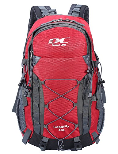 Diamond Candy Waterproof Hiking Backpack 40L with Rain Cover for Outdoor Red