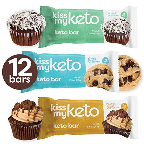 Kiss My Keto Snacks Keto Bars - Keto Chocolate Variety Pack (12) Nutritional Keto Food Bars, Paleo, Low Carb/Glycemic Keto Friendly Foods, Natural On-The-Go Snacks, Quality Fat Bars 3g Net Carbs