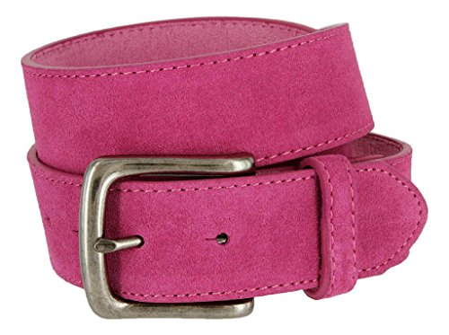 Casual Jean Suede Leather Belt for Men (Pink, 42)