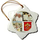 3dRose orn_107181_1 Pope Benedict XVI and The Coats of Arms of The Holy See Collage-Snowflake Ornament, Porcelain, 3-Inch