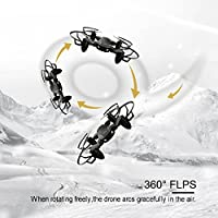 ScharkSpark Drone Guard for Beginners, Drone with Camera Live Video, Portable RC Quadcopter with 2 Batteries, 2.4G 6-Axis Headless Mode Altitude One Key Return 3D Flips and Rolls Toys from ScharkSpark