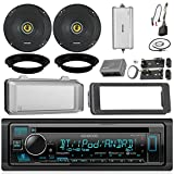 Kenwood KDCBT32 CD Receiver Bundle/2 Kicker 6.5' Speaker + Motorcycle Speaker Adapters + Amplifier + Dash Kit W/Radio Cover + Handle Bar Conrol for 98-2013 Harley Davidson + Enrock Antenna