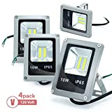 Cheap ETOPLIGHTING 4-Pack 120V 10W LED Flood Light Indoor Outdoor Daylight White 5500K Wall Mountable Floodlight, APL1814