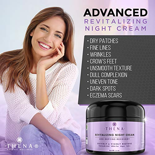 51QAocMGMbL - Night Cream Anti Aging Wrinkle Cream With Hyaluronic Acid Vitamin A (Retinol), Organic Natural Skincare Under Eye Cream For Dark Circles, Antiaging Skin Care Women Men Facial Face Moisturizer