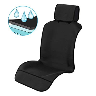 Waterproof Car Seat Covers, Car Front Seat Protector Non-Slip Neoprene Auto Best Protection for Sweat, Stains & Smell, Universal Fit for Most Cars, Trucks, SUVs, Black (50 x 24.8 Inches)【1 PC】: Automotive