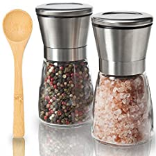 Professional Salt and Pepper Grinder Set - Premium Stainless Steel Salt and Pepper Shakers with Ceramic Spice Grinder Mill for Adjustable Coarseness + BONUS FREE Bamboo Cooking Spoon by KitchenBliss