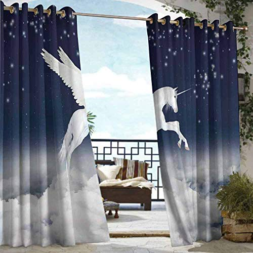 DILITECK Outdoor Curtain Fantasy Legendary Unicorn Flying Over Clouds Novelty and Purity Icon Magic Creature Image Simple Stylish W108 xL72 White Blue