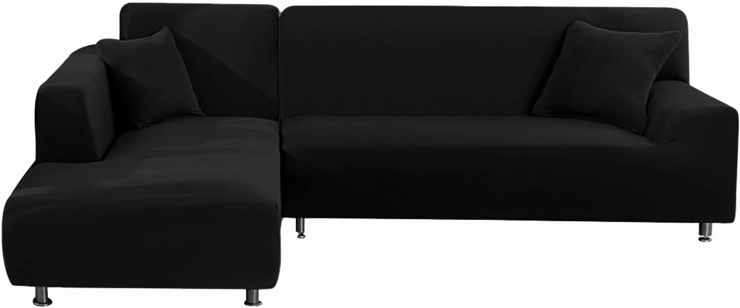 KINAKE Sectional Couch Covers L Shape Sofa Slipcover,Anti Slip Stain Resistant Slipcovers,Washable Furniture Pet Protector Covers 3 Seat and 3 Seat (Black)