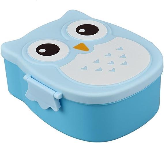STRIR Caja de almuerzo Búho Fiambrera Portátil Rectangular Bento de Alimentos Frutas Comida Para Niños Adultos 16.8 * 13 * 7 cm 1050 ml (Azul): Amazon.es: Hogar