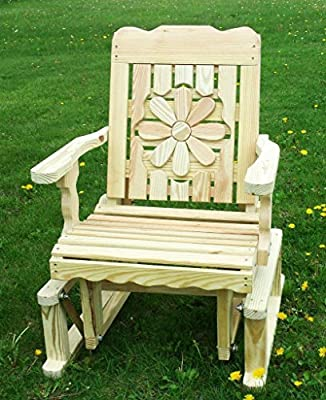 Pressure Treated Pine Designs Unfinished Outdoor Daisy Cutout Glider Chair
