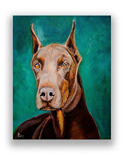 Doberman Pinscher, Dog Decor Artwork, Giclee Print, Animal Wall Art size mat option