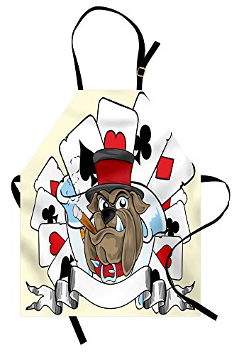 Lunarable Poker Tournament Apron, Cartoon Style Bulldog with Playing Cards Ribbon Rich Winner Image Print, Unisex Kitchen Bib Apron with Adjustable Neck for Cooking Baking Gardening, (Dog Costume Winners)