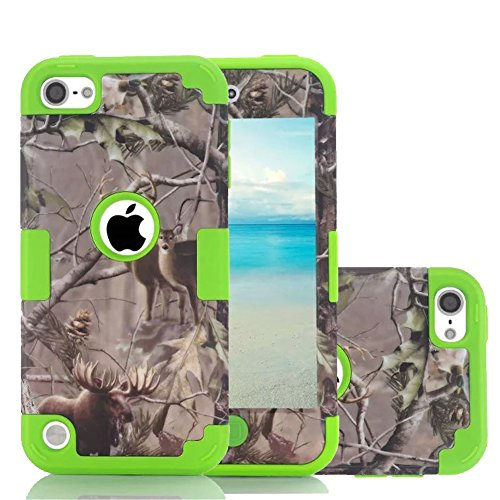 iPod Touch 5 Camo Case, Harsel Deer Design Dual Layer Hybrid Protective Case and Impact Resistant Case Drop Protecion Silicone Hard Cover for iPod Touch 5th / iPod Touch 6th Generation (Deer Green) ()