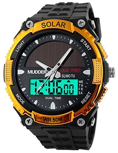 Männer Sport Solarstrom 50M Wasserdicht Outdoor LCD Bewegung Einsatzuhr Gold