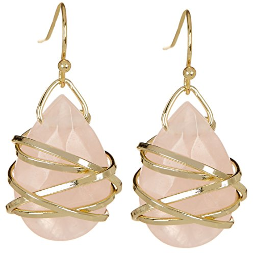 ped Wire Wrapped Wholesale Gemstone Fashion Jewelry Drop Earrings ()