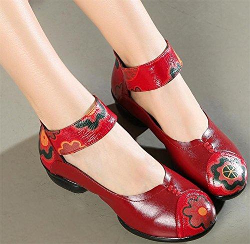 Satuki Handgemaakte Loafer Schoenen Voor Vrouwen, Lederen Casual Mid-hiel Pastorale Floral Zachte Jurk Schoenen Rood
