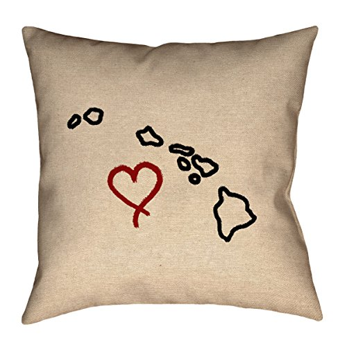 ArtVerse Katelyn Smith Hawaii Love 16'' x 16'' Pillow-Faux Linen (Updated Fabric) Double Sided Print with Concealed Zipper & Insert by ArtVerse