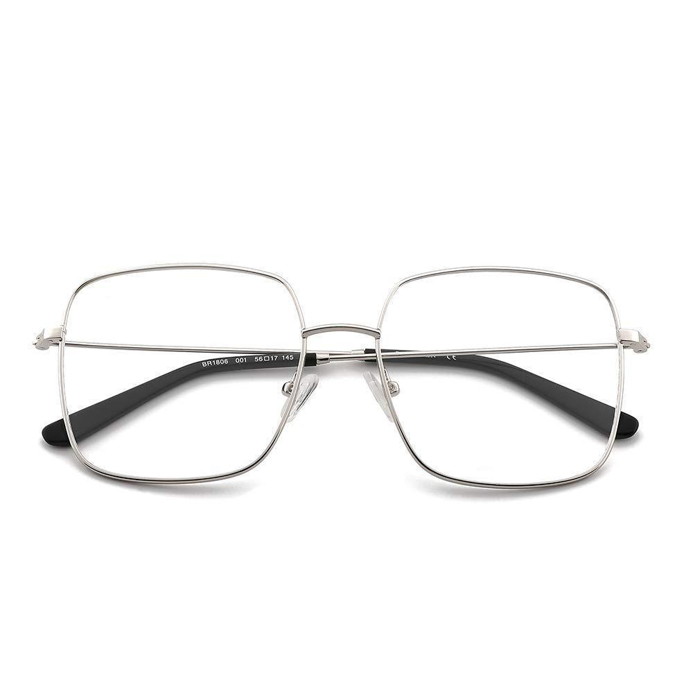 OQ CLUB Oversized Vintage Squre Metal Anti Blue Light Eyewear Non-prescription Eyeglasses Frame for Women Men
