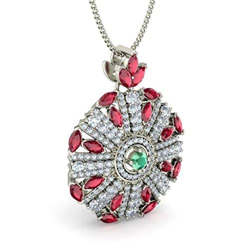 14K Or blanc 1,17carat au total Round-cut-diamond (IJ | SI) et émeraudes et rubis Pendentif