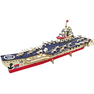 3D Wooden Puzzle,Aircraft Carrier Model,DIY Assembled Woodencraft Toy Set, Children's Puzzle Casual Wooden Educational Toys Children's Puzzle Casual Wooden Educational Toys CJB18