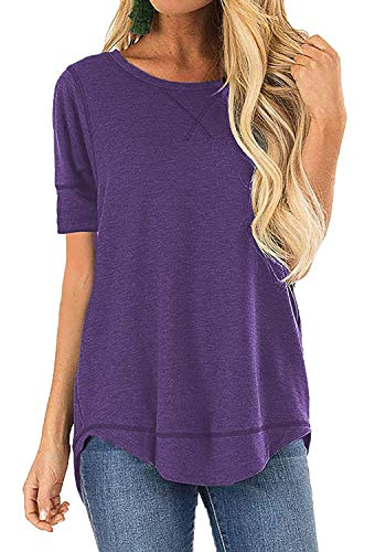 Casual T-Shirts for Women Long Sleeve Tunic Tops Solid Color Crew Neck(Purple,XXL)