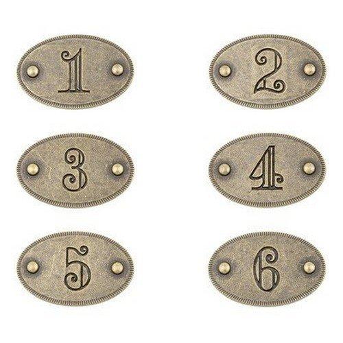 Sumner Street Home Hardware RL021941 Numbers 1-6-Antique Brass Numbers 1-6-Antique Brass