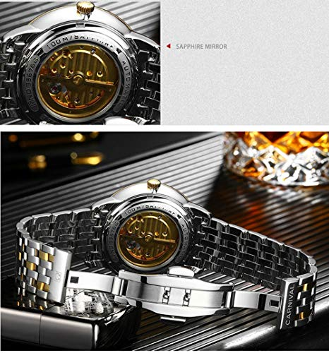 CARNIVAL Herrklockor topp märke automatisk mekanisk klocka män rostfritt stål armbandsur, färg A