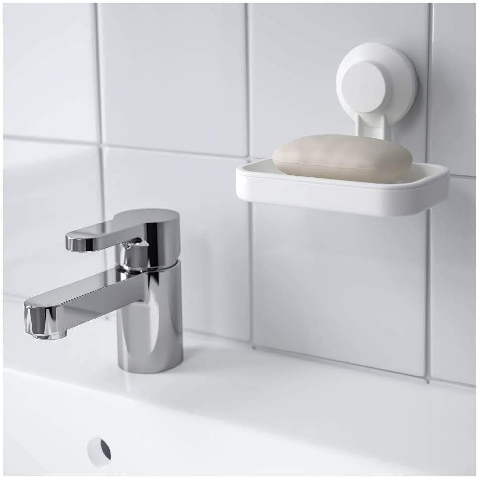 IKEA AISA TISKEN Porte-savon avec ventouse Blanc