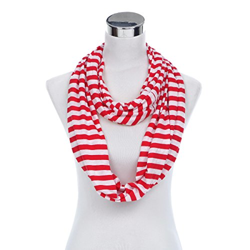 Elegant Striped Infinity Loop Jersey Scarf, (Red Stripe Scarf)