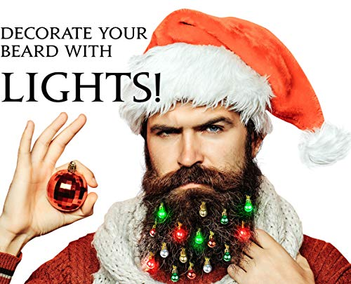 Beardaments Lights- Light Up Beard Ornaments, 16pc Colorful Christmas Facial Hair Baubles for Men in The Holiday Spirit with Clip for Easy Beard Attachment for $<!--$19.99-->