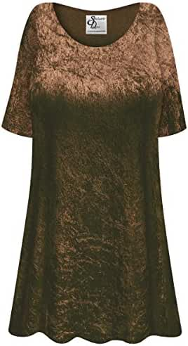 Brown Crush Velvet Plus Size Supersize Extra Long A-Line Top