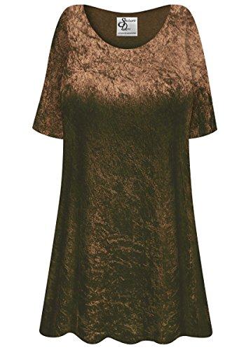 Brown Crush Velvet Plus Size Supersize Extra Long A-Line Top 6xT
